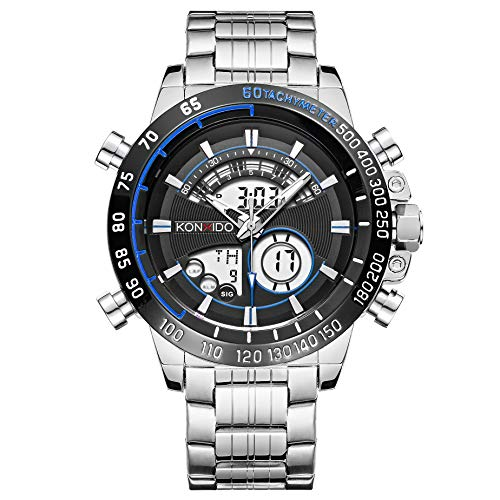 - Men's Watches Stainless Steel Digital Wrist Watches Multifunction LED Alarm Stopwatch Military Watches Waterproof Fashion Quartz Watches Luxury Big Face Watch (Silver)