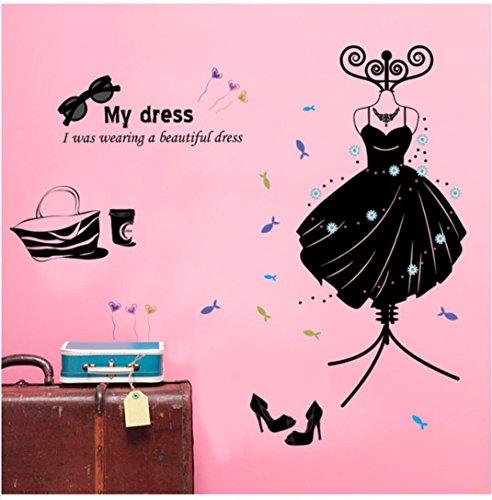 Ussore Wall Sticker Fashion Boutiques Decoration My Dress Window Wall Poster Vinyl Art Home Decor ()