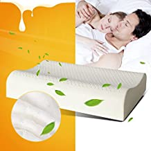 Ailovyo Standard King/Queen Size Latex Foam Pillow Natural with 100% Ventilated Latex Foam Filler Contoured Neck Support