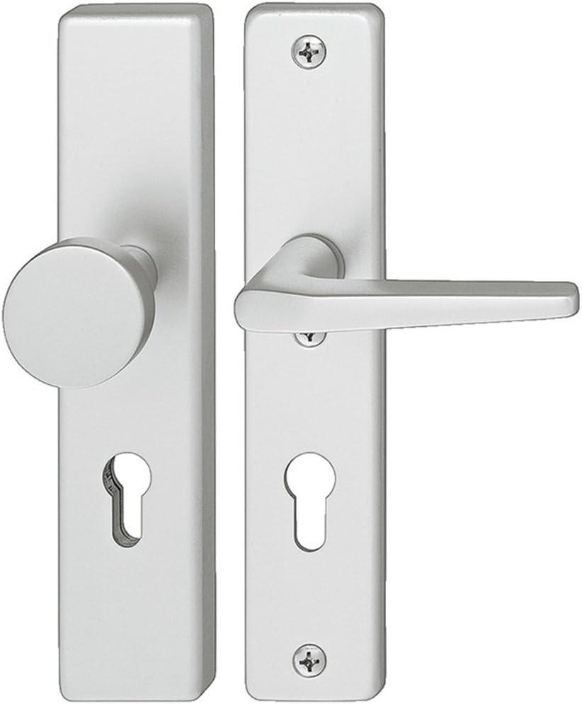 Gedotec H9050 - Juego de herrajes para puerta de vivienda (72 mm, aluminio anodizado, 1 unidad), color plateado