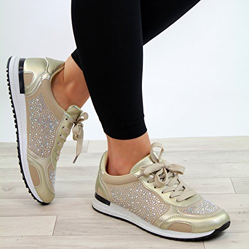 Gold Running Trainers Embellished New Comfy Lace Flat Up Gym Shoes Womens Ladies WPSnHwqcH4