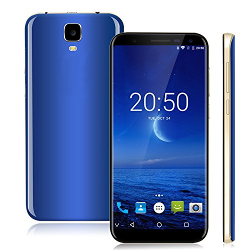 Xgody Y23 Dual SIM Cell Phones Unlocked 6 Inch 18:9 HD Screen Android 7.0 16GB+1GB Quad-core for AT&T T-Mobile Dual Camera 8MP&13MP with Wi-Fi Bluetooth Celulares Desbloqueados (Blue) by Xgody