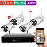 [Expandable Security Cameras] CORSEE Auto Pair 8CH Wireless Surveillance Camera System with 4 x 960P Weatherproof Night Vision Wireless IP Cameras,View Remotely,Auto-Pair,No Hard Drive (Plug and Play)