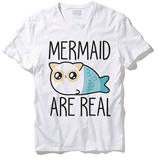 """T-Shirt Mixte Pouny Pouny """"Mermaid are real"""" (Les sirènes existent) chibi et kawaii - Made in France - Licence officielle Pouny Pouny - Chamalow shop"""