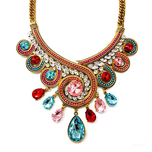 LOVFASHION Vintage Chain Statement Necklace Multi-Color Glass Crystal Collar Choker Bib Necklace with Gift Box