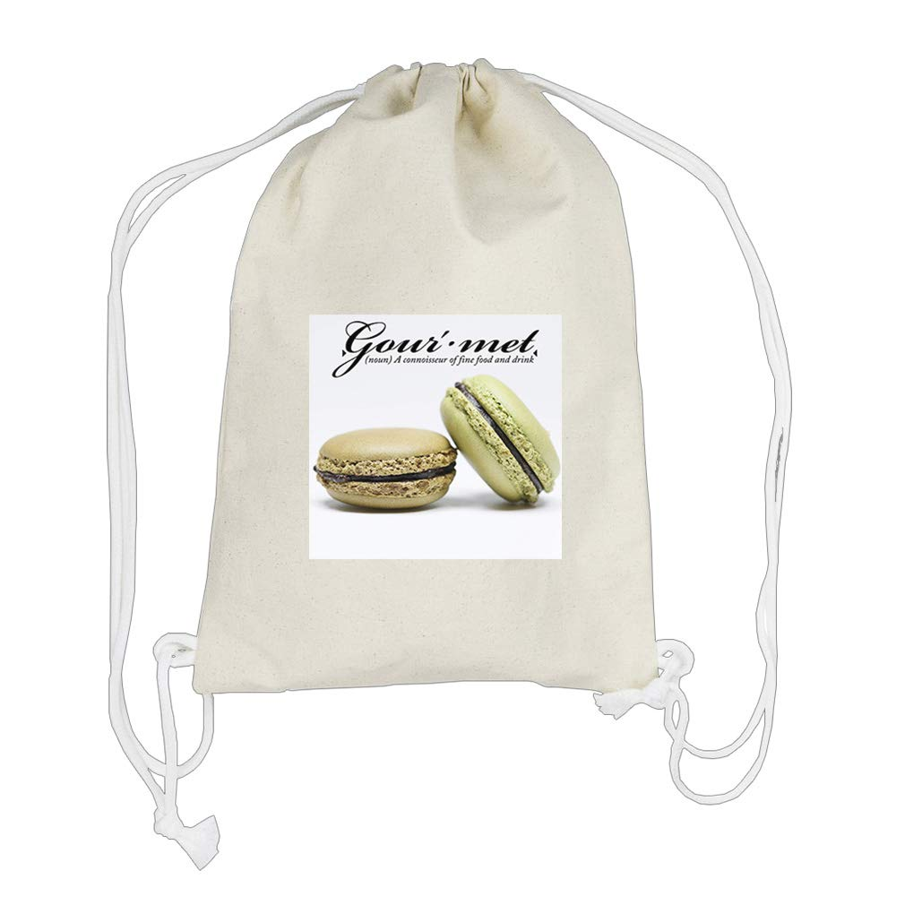 Met (Noun) Fine Food And Drink & Cookies Cotton Canvas Backpack Drawstring Bag