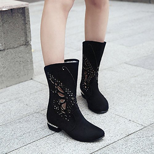 Pattern Carolbar Black Boots Women's Hollow Heel Short Western Low Charm gRZxHYg