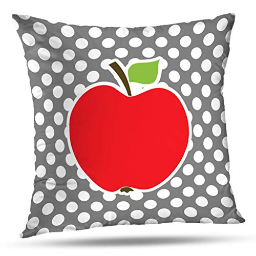 ONELZ Apple On Dark Gray Polka Dots Square Decorative Throw Pillow Case, Fashion Style Zippered Cushion Pillow Cover (16X16 inch)
