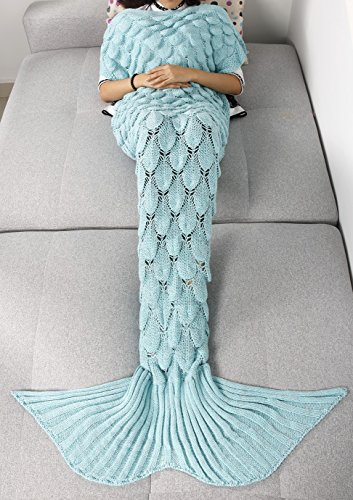 iEFiEL Teens Adult Knitted Mermaid Tail Blanket Couch Sleeping Bag (Light Blue)