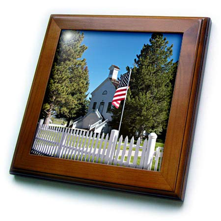 3dRose Jos Fauxtographee- Church - The Church of Jesus Christ Old Historical Chapel with a Flag - 8x8 Framed Tile (ft_317918_1)