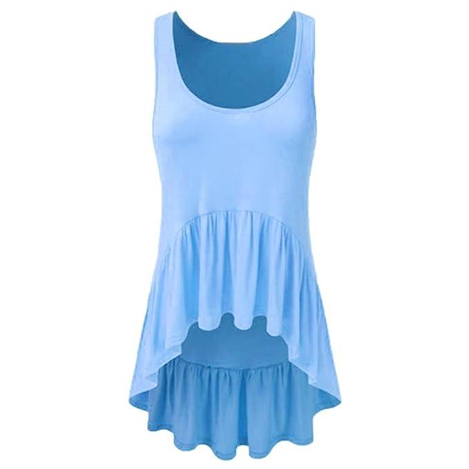 4da34df237c3b KIMODO T Shirt Damen Sommer Bluse Damen Rüschen Unregelmäßige Hem Tunika  Tank Top Blusen Mode: Amazon.de: Bekleidung