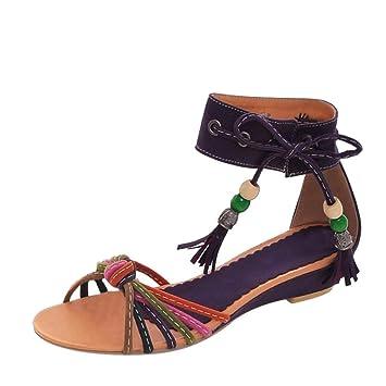 c619c9f9f Bohemian Gladiator Sandals for Women Flock Low Wedge Platform Sandals Ankle  Tassel Lace up Strappy Sandals