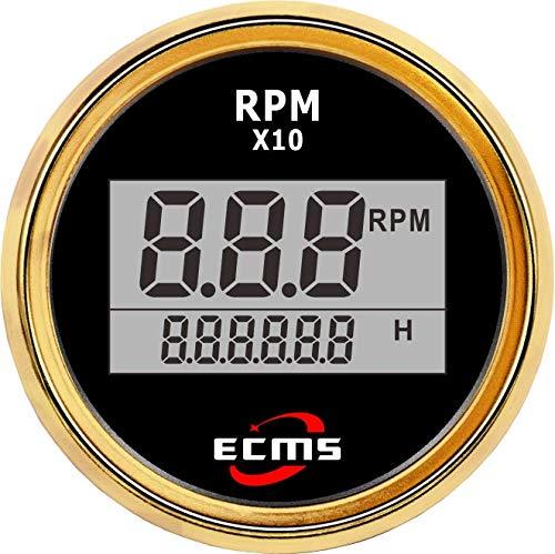 (ECMS Marine Boat Automotive Tachometer Gauge 9-32V Pulse 52mm 316L Golden Bezel Black Dial 800-00263)