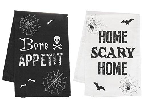 Ganz Halloween Kitchen Towels Set of Two - Bone Appetit - Home Scary (Ganz Halloween)