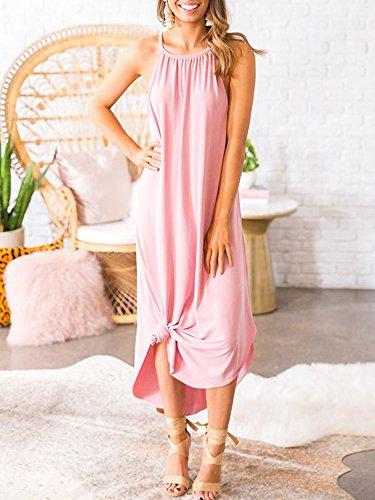 Beautife Womens Summer Sleeveless Halter Maxi Dress Casual Loose Fit Plain Long Dresses by Beautife (Image #3)