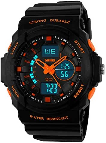Takyae 2017 Child Multi Function Digital LED Quartz Watch Kids Boy Girls Water Resistant Electronic Sport Watches S- Orange