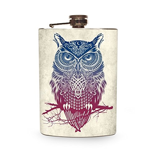 Rainbow Tattoo Owl Flask Stainless Steel 8oz Hip Flasks Spirits Whiskey Vodka Tequila Drinking Owls Bird Wild Animal Gift - Flask Spirit