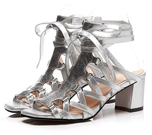 Women's Ladies Sandals Peep Toe Ankle Cross Straps Slingback Mid Chunky Rough Block Heel Black Shoes SILVER k5P72f