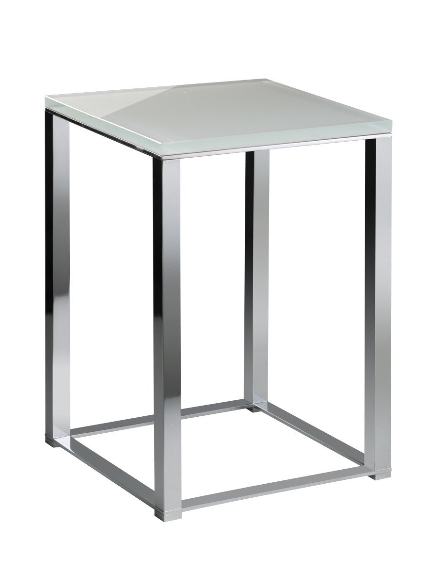Backless Vanity Stool Bench Seat With Brass Metal Legs, Glass Seat (White-Chrome)