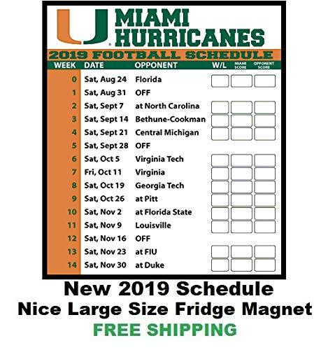 Miami Hurricanes 2019 Football Schedule Amazon.com: 2019 NCAA Miami Hurricanes Football Schedule Fridge