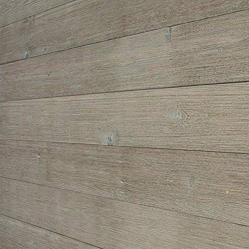 """Easy Peel & Stick DIY Real Distressed Wood Wall Plank or Panel - 12 Pieces - 19.50 SF - Large 5"""" x 46.5"""" (Rustic Light Grey)"""