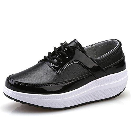 9b51ca4c78e1 SHAKE Women s Leather Shape Ups Black Lady Pumps Walking Wedges Sneaker  Platform Casual Shoes For Women