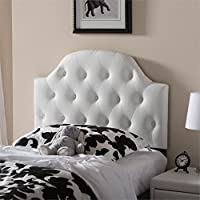 Baxton Studio Morris Faux Leather Upholstered Twin Headboard in White