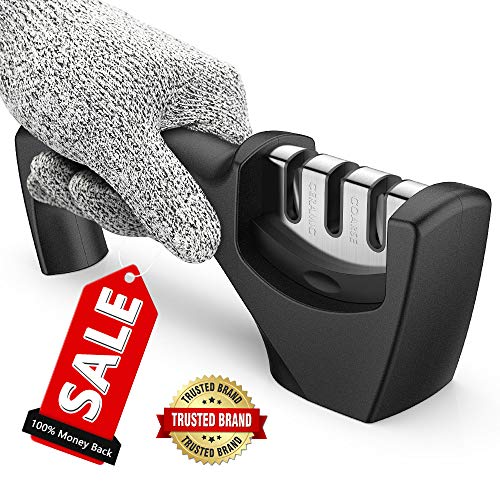 Best Kitchen Knife Sharpener,Upgraded 3-Stage Blades Sharpener Stone(Ceramic,Coarse,Fine). Best For Chef/Fillet Knives.Easy Manual Shapening,Cut-Resistant Glove Included for More Safe Sharpening.