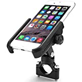"ILM Motorcycle Phone Mount Premium Aluminum Universal Bike Handlebar Holder Fits iPhone X, 7 | 7 Plus, 8 | 8 Plus, iPhone 6s | 6s Plus, Galaxy S7, S6, S5, Holds Phones Up To 3.7"" Wide (BLACK)"