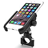 ILM Motorcycle Phone Mount Premium Aluminum Universal Bike Handlebar Holder Fits iPhone X, 7 | 7 Plus, 8 | 8 Plus, iPhone 6s | 6s Plus, Galaxy S7, S6, S5, Holds Phones Up To 3.7'' Wide (BLACK)