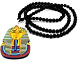 "Cool & Custom {2.8 x 3.5"" inch w/ 18"" Chain Hang} Single Unit of Rear View Mirror Hanging Ornament Decoration Made of Acrylic w/ Pharaoh King Tut Egyptian Charm [Dodge Gold, Black, Blue Multi Color]"
