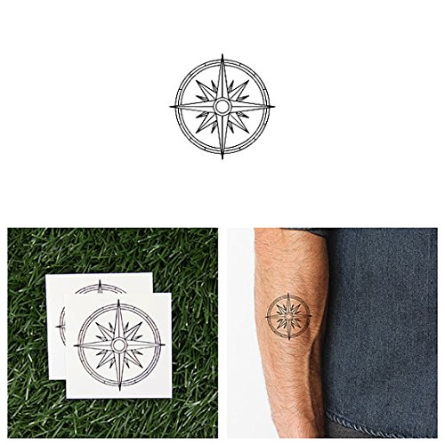 Tattify Cute Compass Temporary Tattoo - On The Road Again (Set of 2) - Other Styles Available - Fashionable Temporary (On The Road Costume Designer)