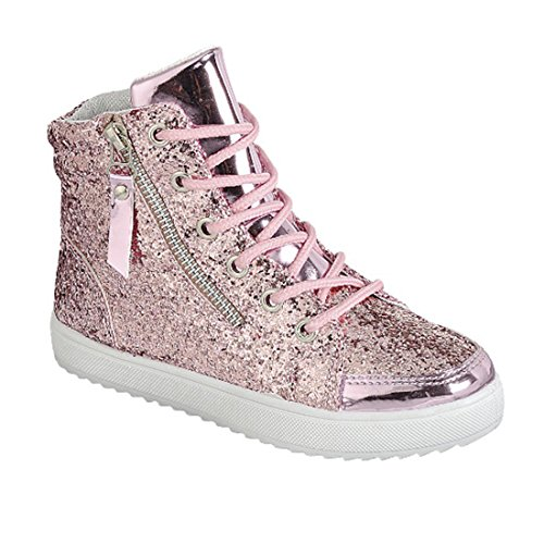 Link Ultra-69K Girl's Glitter Lace Up White Sole Ankle High Top Street Sneakers,Pink,9