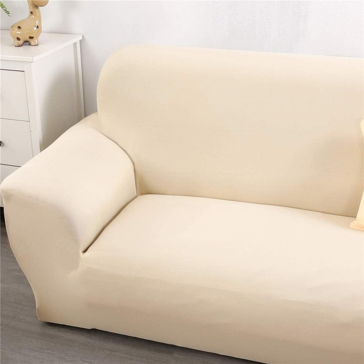 Housses de Canap/é Imprim/é Extensible 1 Place,Beige Morbuy Couleur Unie Jacquard Rev/êtement de Canap/é avec accoudoirs Sofa Elastique Couverture Protecteur Fauteuil
