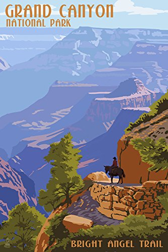 - Grand Canyon National Park, Arizona - Bright Angel Trail (12x18 Art Print, Wall Decor Travel Poster)