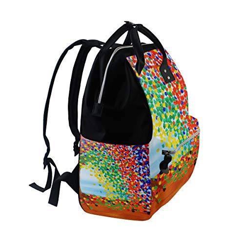 Function for Sunflower Muti Art Multi7 Travel Capacity Bag Retro Large Mummy Bag Canvas Backpack Women P0wwHqBx