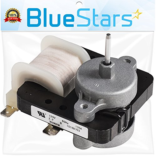[SEP 2020 REFORMED] Ultra Durable W10189703 Refrigerator Evaporator Fan Motor by Blue Stars - Exact Fit for Whirlpool Maytag Kenmore Refrigerators - Replaces WPW10189703 W10208121 2219647