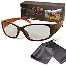 """Passive 3D Movie & TV Glasses - Unisex - Black / Orange -Circularly Polarized - For RealD Passive 3D TVs from LG """"Cinema 3D"""", Philips """"Easy 3D"""", 3D Televisions From Sony, Toshiba, Panasonic, Grundig and Hisense - with pouch and cleaning cloth"""