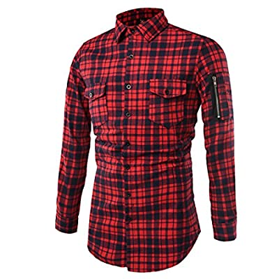 GRMO Mens Hipster Plaid Long Sleeve Slim Fit Dress Button Down Shirt