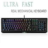 Cheap Rainbow Mechanical Gaming Keyboard, USB Gaming Keyboard with 104 Rainbow Anti-Ghosting Keys-Clicky LED Backlit Keys, Customizable with 9 Presets for PC Gamers