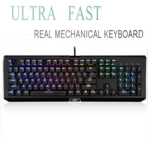 Rainbow Mechanical Gaming Keyboard, USB Gaming Keyboard with 104 Rainbow Anti-Ghosting Keys-Clicky LED Backlit Keys, Customizable with 9 Presets for PC Gamers