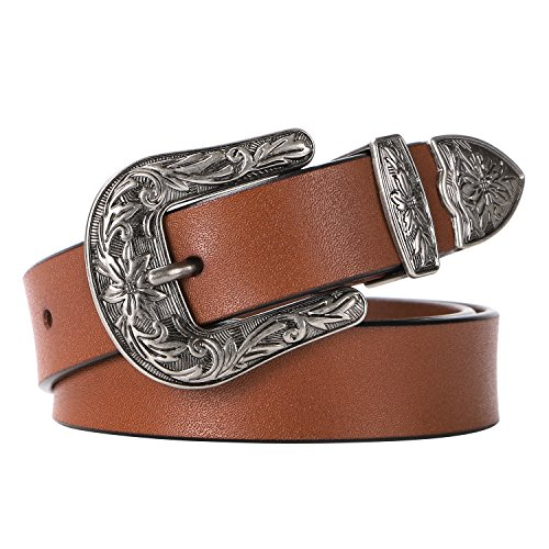 Ladies Western Leather Belts Cowhide Leather Jeans Belt Vintage Dresses Skinny Belt Adjustable Metal Buckle 28''-34'' Gift Box Brown by XZQTIVE (Image #1)
