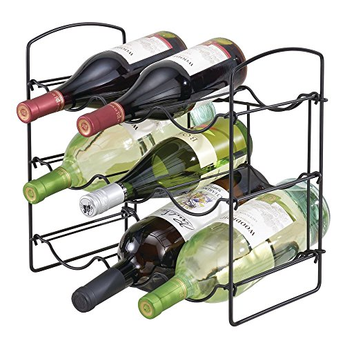 mDesign Free-Standing Countertop Wine Rack - 9 Bottle Storage, Matte Black by mDesign