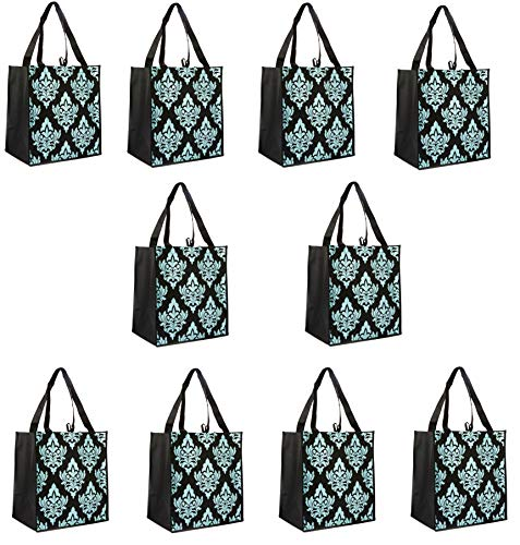 (ReBagMe (TM) Set of 10 Large Reusable Grocery Bag Totes - Extra Reinforced Handles Sewn to the Bottom - Loop for Grocery Stores - Includes Insert on Bottom of Bag)