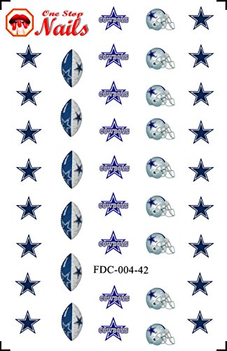 Dallas Cowboys Waterslide nail decals (Tattoos) V4 (Set of 40) -