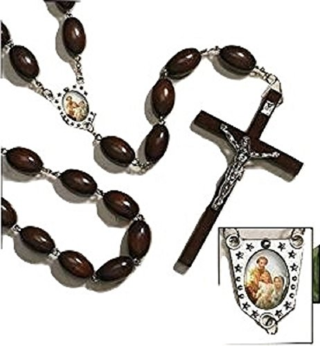 (Unique Large Wood Bead Family Wall Rosary in Black or Brown Wood)