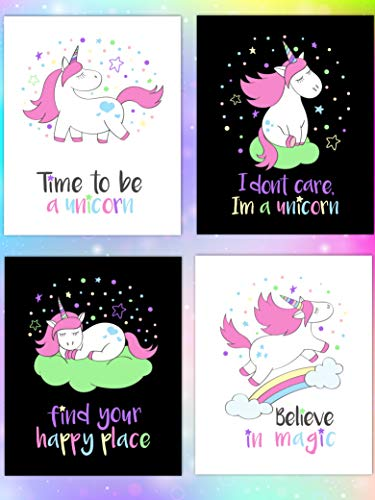 - 3D Learning LLF Unicorn Wall Decor Wall Prints- Four 8×10 Unframed Soft Touch Designs - Motivational Quote Wall Art for Kids Girls Teens Bedroom and Classroom Decorations in Pastel Colors