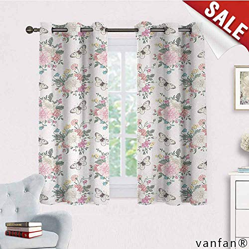 LQQBSTORAGE Shabby Chic,Curtains Dining Room,Peonies Sweet Peas Roses Bouquet and Butterflies Pastel Tones Bridal Theme,Curtains for Boys Room,Soft Pink - Toile Gingham Pink Green