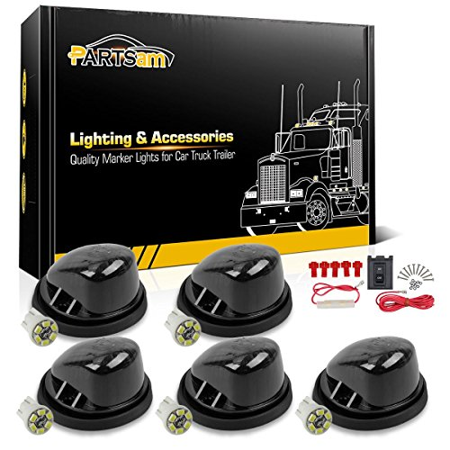 Partsam 5X Cab Roof Running Marker 1313S Smoke Round Light + 5X 194 6-3020-SMD White LED Bulb + Wiring Pack Compatible with Chevrolet/GMC C/K Series 1969-1987 Pickup Trucks