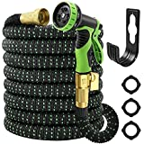 """Garden Hose Expandable 50ft, Water Hose With 10 Function Spray Nozzle,Lefree Heavy Duty Flexible Hose,3/4"""" Solid Brass Connec"""